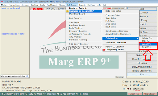 Area & Route Outstandings in Marg ERP Software