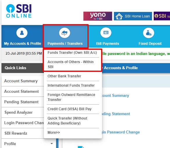 sbi net banking fund transfer