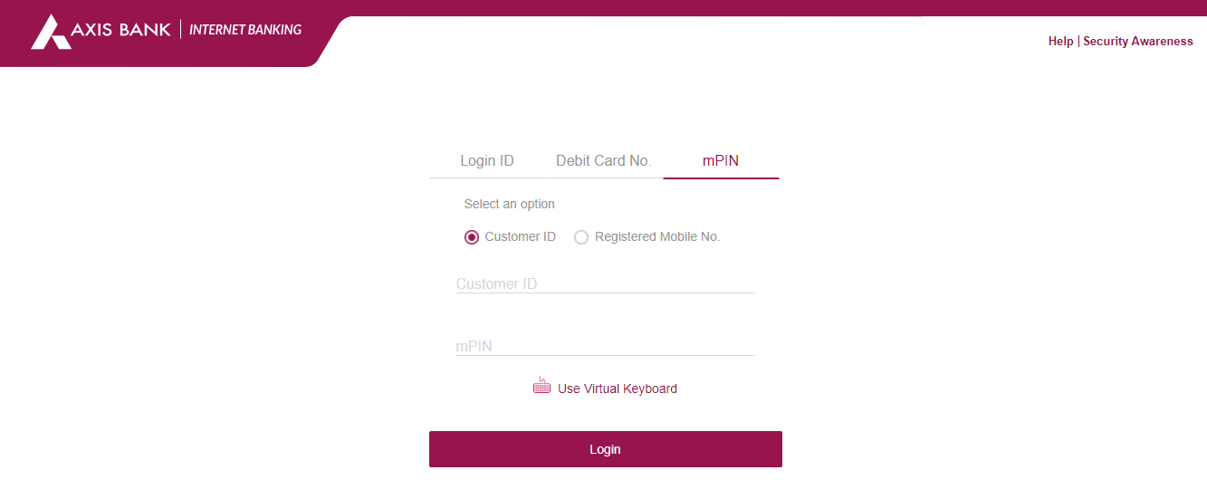 axis bank net banking login through mpin